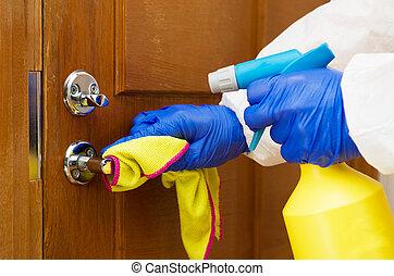 concept., limpieza, protector, puerta, guante, mano, trapo, handle., desinfección, covid-19