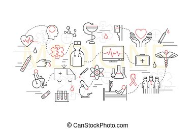 concept, linéaire, moderne, thème, mince, medicine.