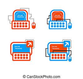 concept., linea, scuola, icona, mentorship, addestramento, logo., lezione, school., webinar, set., concetto
