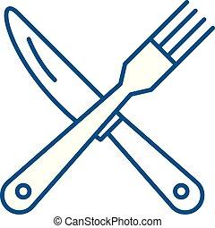 concept., linea, vettore, simbolo, appartamento, forchetta, icona, segno, coltello, contorno, illustration.