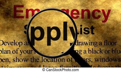 concept, liste, recherche, urgence, fourniture, verre, ...