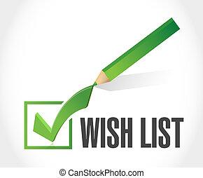 concept, liste souhait, illustration, marque, signe, chèque