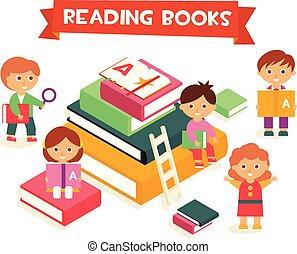 concept, literatuur, boekjes , meiden, illustratie, kinderen, jongens, vector, opleiding, het genieten van, lezende