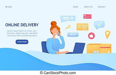 concept, livraison, logistique, ligne