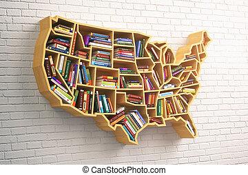 concept., livres, carte, usa, livre, ou, étagère, marché, education, usa.