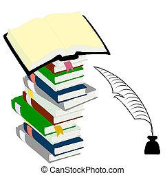 concept., livres, encrier, livre cartonné, plume, education