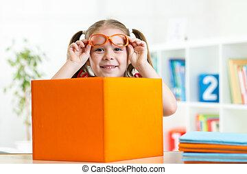 concept, livres, gosse, sourire, education, girl, heureux