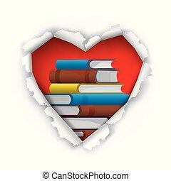 concept., livres, signe, amour, nous