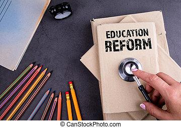 concept., livros, educação, pilha, reform