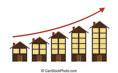 concept, logement, illustration, vecteur, marché hausse