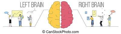 concept., logique, plat, analytique, illustration, différence, entre, vecteur, fonctions, droit, vs, cerveau, style, horizontal, parties, cerveau, créatif, cerveaux, differently., gauche, travail, deux, thinking., humain