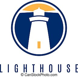 Concept logo template with lighthouse in flat design .Vector...