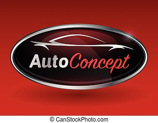 Concept automotive logo design with chrome badge of sports car vehicle silhouette on red background. Vector illustration.
