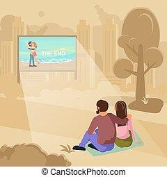 concept, lucht, open, bioscoop