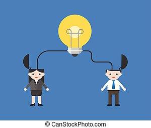 concept, lumière, businesspeople, idées, fusionner, relier, ampoule