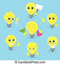 concept, lumière, caractère, jaune, collection, ampoule, dessin animé