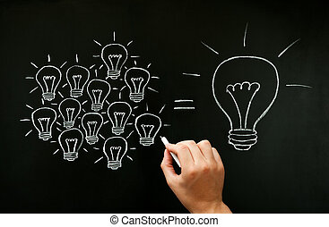 concept, lumière, collaboration, idée, développer, ampoules