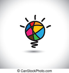 concept, lumière, -, idée, créatif, vecteur, ampoule, icône