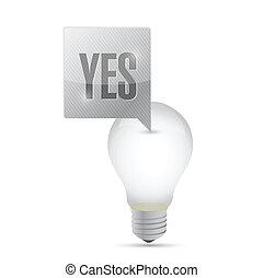 concept, lumière, idée, illustration, conception, ampoule, oui