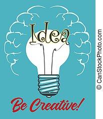 concept, lumière, idée, retro, affiche, ampoule