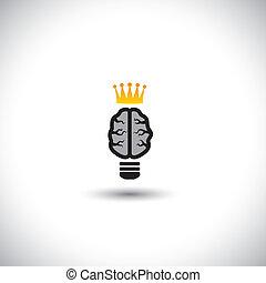 concept, lumière, -, idées, cerveau, vecteur, ampoule, icône, crown.