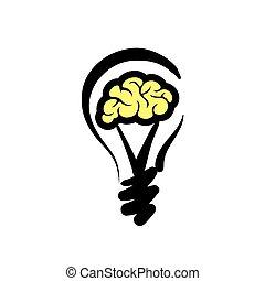 concept, lumière, illustration, ideas., vecteur, logo, ampoule