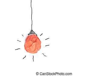 concept, lumière, isoler, idée, papier, fond, ampoule, blanc