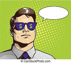 concept, lunettes soleil, reussite, business, signe., dollar, illustration, vecteur, sauter art, homme, style., retro