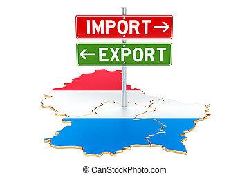 concept, luxembourg, rendre, exportation, importation, 3d