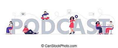 concept., lyssna, ord, podcasts, lägenhet, internet, radio...