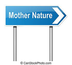 concept, mère,  nature