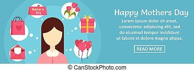 concept, mères, horizontal, bannière, jour, heureux