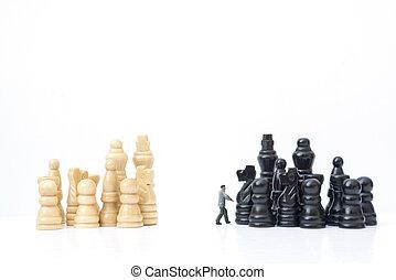 concept, médiation, concurrence, équipes, miniature,...