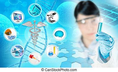 concept médical, fond, recherche