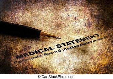 concept médical, grunge, déclaration