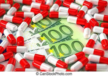 concept, médicament, coûteux