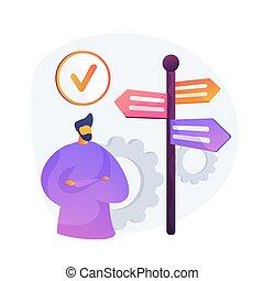 concept, métaphore, vecteur, décision, gestion
