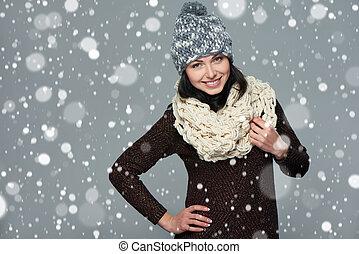 concept., m�dchen, weihnachten, winter