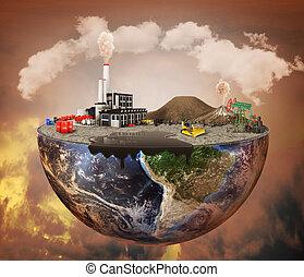 concept., machinerie, pollution, plante, mise en décharge, pétrole, sale, émissions, air