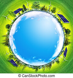 concept, macht, eco, abstract, backgrounds., alternatieve energie