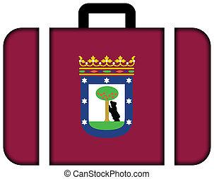 concept, madrid., voyage, drapeau, valise, icône, transport