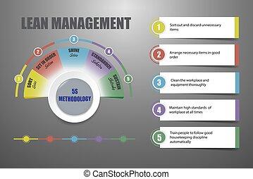 concept, maigre, -, 5s, méthodologie, vecteur, gestion