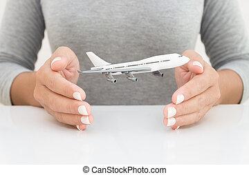 concept, main, femme, avion, modèle, transport