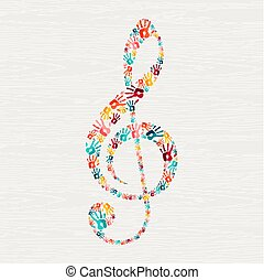 concept, main, note, forme, musique, humain, impression