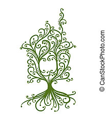 concept, maison, écologie, vert, conception, ton