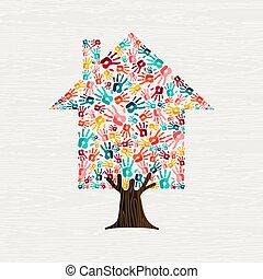 concept, maison, arbre, communauté, main, maison