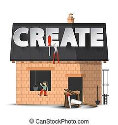 concept, maison, créativité, create., isolé, arrière-plan., vecteur, bricolage, construction, blanc