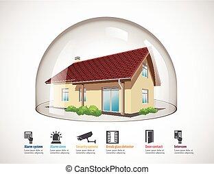concept, maison, -, dôme, verre, protection