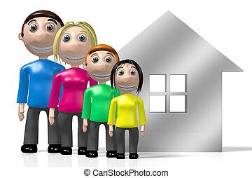 concept, maison, famille, 3d, heureux