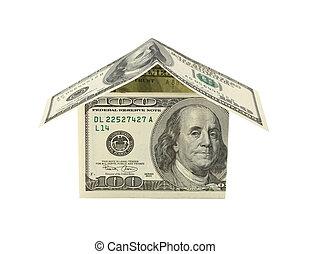 concept, maison financière, dollar, isolé, white.
